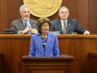 U.S. Sen. Lisa Murkowski speaks to a Joint Session of the Alaska Legislature, Feb. 22, 2017. (Photo by Skip Gray/360 North)
