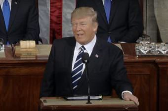 President Donald Trump makes his address to a Joint Session of Congress on Feb. 28, 2017 (Screenshot of White House video)