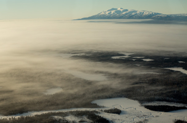 An aerial view near the Alaska Range.