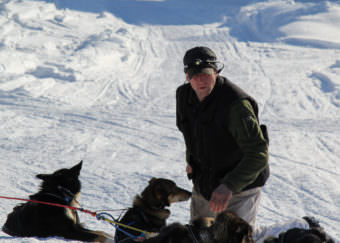 Scott Smith at the checkpoint in Galena during the Iditarod. (Photo by Zachariah Hughes, Alaska Public Media)