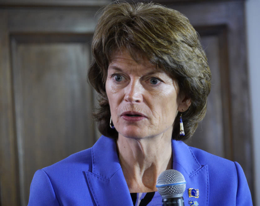 Sen. Lisa Murkowski speaks with reporters at a press availability following her annual address to the Alaska Legislature on Feb. 22, 2017. (Photo by Skip Gray/360 North)