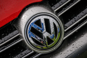The logo on a Volkswagen Golf R32 at the Scottish VAG Show 2013 held in Scotland.