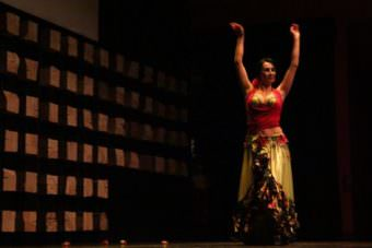 Rabia Duddy belly dances at a Turkish cultural event in Anchorage. (Photo by Zachariah Hughes/Alaska Public Media – Anchorage)