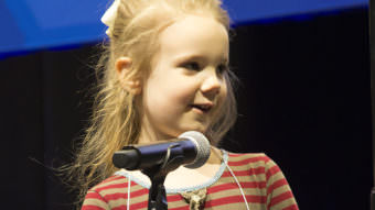 Edith Fuller, 5, outlasted much older competitors in a regional spelling bee, earning a spot in the Scripps National Spelling Bee in May. (Photo by KJRH, Tulsa)