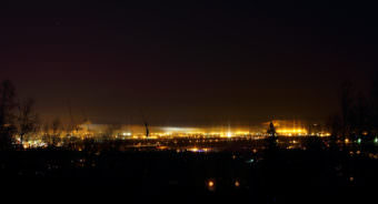 Smoke and fog hang in the air over Fairbanks on a -30 degree winter night in November 2011.