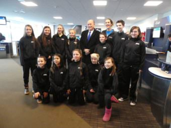 The Juneau Jumpers ran into Gov. Bill Walker at Juneau International Airport on Friday, March 10, 2017, on their way to jump rope competition in Fairbanks. The travel ban didn't apply to the middle schoolers in the group in this case because it wasn't for a school-sponsored sport.