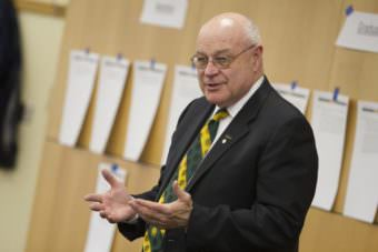University of Alaska Anchorage Chancellor Tom Case addresses faculty and staff at a recent UAA 2020 gathering. (Photo by Philip Hall /University of Alaska Anchorage)