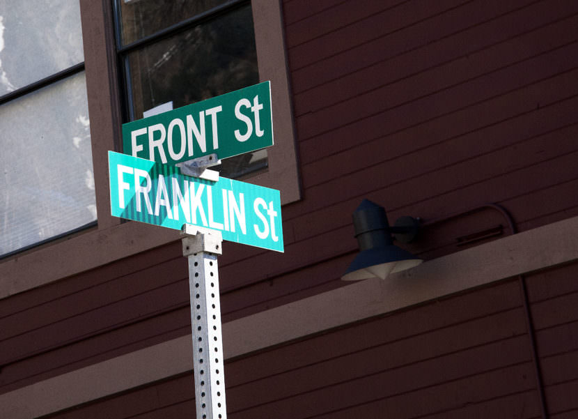 In its early days, Franklin Street almost ended at Front Street because one person refused to give up a lot, so the thoroughfare could be extended to the waterfront. (Photo by Tripp J Crouse/KTOO)