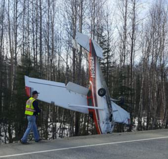 A Cessna 182E Skylane that crashed Saturday afternoon near Mile 90 of the Parks Highway. (Photo courtesy Katie Dietrich)