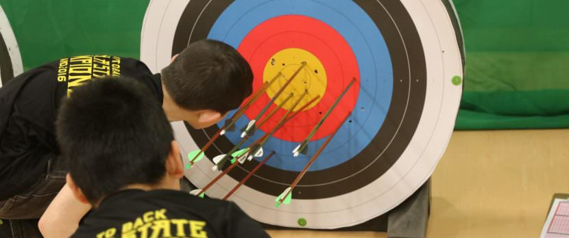 Bethel Schools Archery team earned first place in the state in both the elementary and middle school divisions. Students now have their sights set on the national competition in Louisville, Kentucky this May. (Photo by Dean Swope/KYUK)