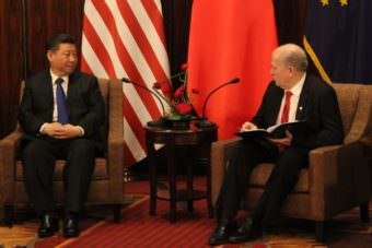 Chinese president Xi Jinping met with Alaska Gov. Bill Walker during a short visit to Anchorage on April 7, 2017. Xi stopped in Alaska on his way home from a summit with President Donald Trump in Florida.