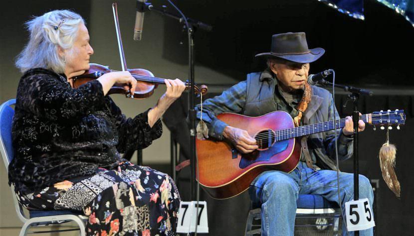 4-4-17 Tagish, Yukon, country singer Art Johns and Skagway fiddler Nola Lamken perform at the Alaska Folk Festival in Juneau April 4, 2017. (Photo by Brian Wallace Photography)