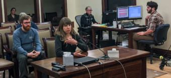 Juneau resident Julie Nielsen testified in favor of House Bill 115. Most of the more than 100 Alaskans who testified supported the bill, April 25, 2017. (Photo by Andrew Kitchenman/KTOO and Alaska Public Media)
