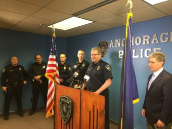 Anchorage Police Chief Chris Tolley announces his departure at a news conference ahead of the news that Capt.Justin Doll will take over as chief in a few months. (Photo by Zachariah Hughes/Alaska Public Media)