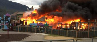 The Twin Lakes playground in Juneau burns on the evening of April 24, 2017.