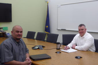 Johnson Youth Center Superintendent Jess Lujan, left, and Chief Probation Officer, Southeast Region Joe Adelmeyer in the Johnson Youth Center conference room.