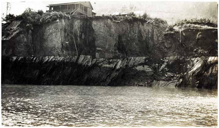 Water flooded three of the mines as can be seen in this historic photograph dating from 1917 in the aftermath of the cave in.