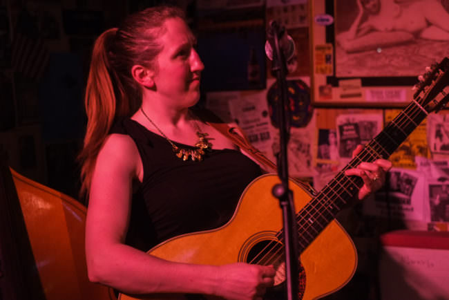 Erin Heist plays with North Country Cajun Club Friday at the Alaskan. Photo By Annie