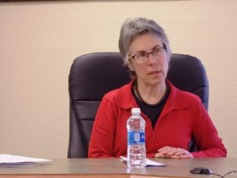 Debra Schnabel interviews with the Haines Borough Assembly in April 2017. (Photo by Emily Files/KHNS)