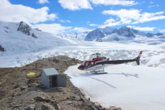 Technicians service a remote seismic station in the Wrangell-St.Elias region.