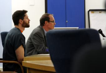 Defendant Reuben Yerkes sits by public defender Jude Pate in Sitka Superior Court on Monday, May 15, 2017. Judge David George advised Yerkes he had the right to trial within 120 days, Yerkes waived that right to examine the state's evidence against him.