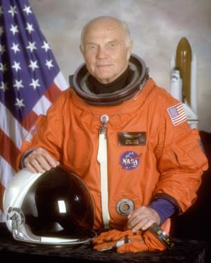 STS-95 crewmember, astronaut and U.S. Senator John Glenn. Glenn was the first American to orbit the earth, and he returned to space in October 1998 aboard Space Shuttle flight STS-95. This is his official portrait for that Shuttle mission.