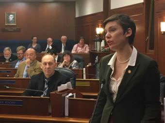 Rep. Ivy Spohnholz, D-Anchorage, speaks in support of House Bill 159, which is intended to reduce opioid overdose deaths. (Photo by Andrew Kitchenman/KTOO and Alaska Public Media)