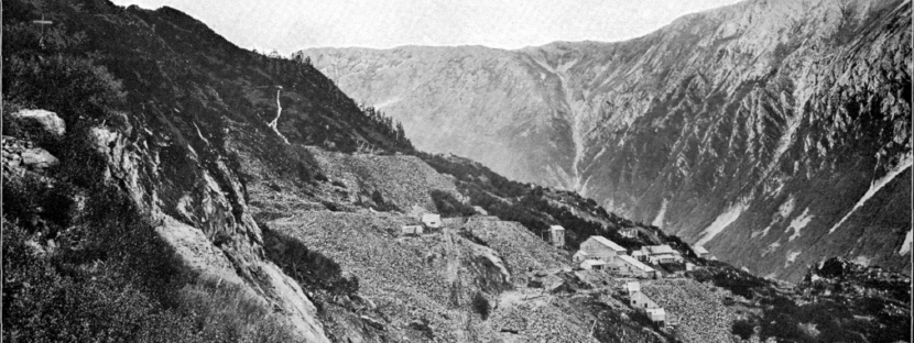 This photo from a 1906 U.S. Geological Survey bulletin shows the Alaska-Juneau Gold Mine and Mill along Gold Creek.