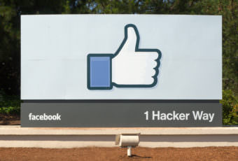 This sign marks the entrance to Facebook's headquarters in Menlo Park, California.