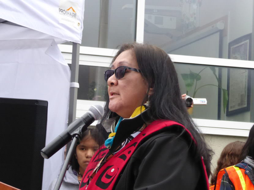 Andrea Cadiente -- Laiti speaks at the totem pole raising ceremony on Saturday.