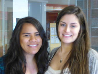Rena Nauer, left, and Sierra Ezree in the Juneau-Douglas High School Commons on Friday.