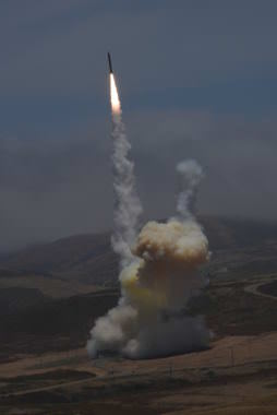 A ground-based interceptor launches from Vandenberg Air Force Base in California on Tuesday, May 30, 2017, and successfully destroys an intercontinental ballistic missile target in a direct collision. The U.S. Missile Defense Agency conducted the Ground-based Midcourse Defense test of the nation's ballistic missile defense system in cooperation with the U.S. Air Force 30th Space Wing, the Joint Functional Component Command for Integrated Missile Defense and U.S. Northern Command.