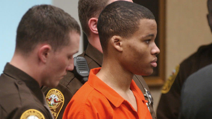 Lee Boyd Malvo attends court proceedings for fellow sniper suspect John Allen Muhammad in 2003. A federal judge has thrown out two sentences of life without parole that Malvo has been serving in Virginia.