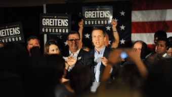 Missouri Gov. Eric Greitens after securing the GOP nomination in August of 2016. Allies of Greitens are using a nonprofit group to advance his legislative agenda.