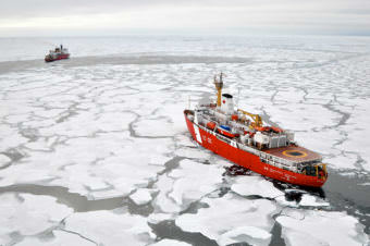 Canadian Coast Guard ship Louis S. St-Laurent makes an approach to the Coast Guard cutter Healy in the Arctic Ocean Sept. 2009. As Arctic marine traffic increases, several northwest Alaska communities have joined forces to establish a new waterway safety committee. (Photo by Patrick Kelley/U.S. Coast Guard)