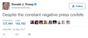 """A tweet by President Trump, which has been deleted, caused a stir with its mention of """"negative press covfefe."""" (Screenshot @realDonaldTrump by NPR)"""