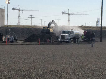 Workers at Hanford began filling a collapsed section of a rail car tunnel near the PUREX Plant on Wednesday morning. (Photo courtesy U.S. Department of Energy)