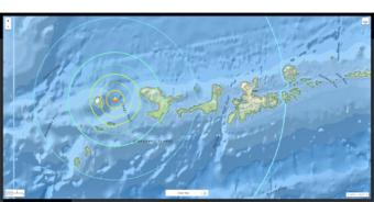 A series of earthquakes, including a strong 6.4-magnitude quake near Adak, shook the Aleutian Islands the morning of Monday, May 8, 2017.