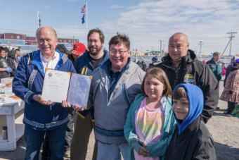 Alaska Gov. Bill Walker in Utqiaġvik on June 24, 2017, after signing Indigenous Peoples Day into state law. (Photo courtesy Governor's Office of Alaska)