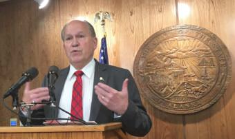 Gov. Bill Walker, an independent, speaks at a press availability shortly after calling the Alaska Legislature into the second special session of the year, June 16, 2017. Walker limited the session to one topic, the operating budget. (Photo by Andrew Kitchenman/KTOO and Alaska Public Media)