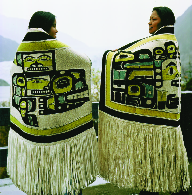This undated photo shows Anna Brown Ehlers. right, and her daughter wearing Chilkat blankets she'd woven. (Photo courtesy of Hulleah Tsinhnahjinnie/National Endowment for the Arts)