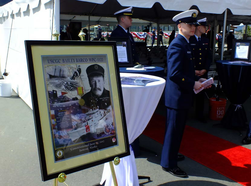 Commemorative poster of Stationkeeper Bailey Barco is put on display during commissioning of the U.S. Coast Guard cutter Bailey Barco in Juneau on June 14, 2017.