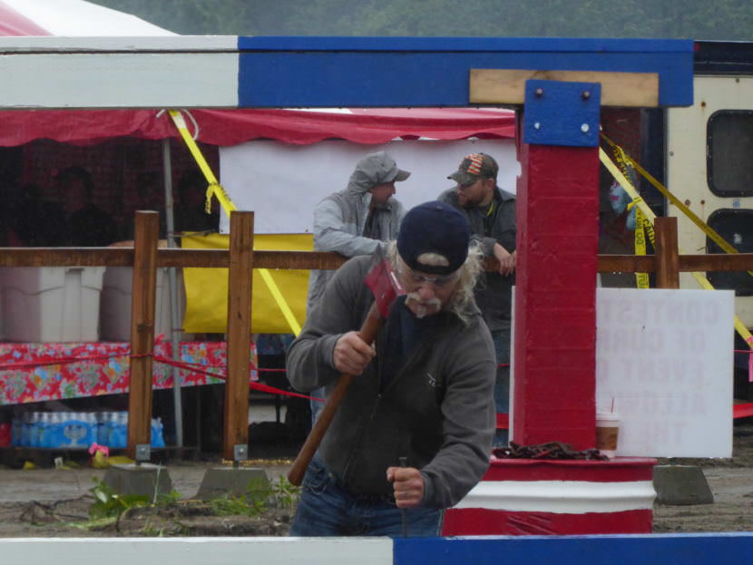 A contestant drives spikes at Juneau Gold Rush Days, Saturday.