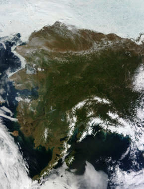The Moderate Resolution Imaging Spectroradiometer on NASA's Terra satellite acquired this rare, nearly cloud-free view of Alaska on June 17, 2013. The same ridge of high pressure that cleared Alaska's skies also brought stifling temperatures to many areas; Cordova, Valdez and Seward were among the towns that set record highs. The high temperatures also helped fuel wildfires and hastened the breakup of sea ice in the Chukchi Sea.