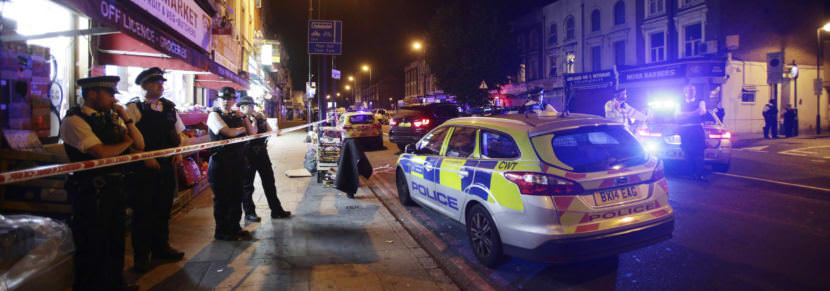 A road in north London is cordoned off in Finsbury Park, where police say a vehicle struck pedestrians, leaving several casualties. One person has been arrested.