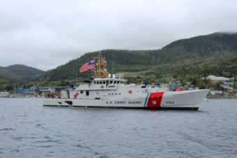 The Coast Guard Cutter Bailey Barco pulls into its homeport of Ketchikan on May 12, 2017. The vessel and its crew completed a journey of 7,130 miles to reach Alaska from Key West, Florida. (Photo courtesy U.S. Coast Guard)