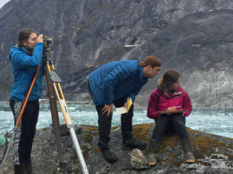 Mariah Taylor, Nathaniel Lenhard and Izabelle Ith survey LeConte Glacier, which is about 25 miles east of Petersburg, on May 11. (Photo courtesy of Jon Kludt-Painter)