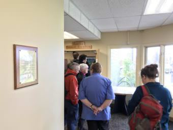 Voters line up at the polls to cast their decision in the recall election of three Homer City Council members. The unofficial results are too close to call until the vote can be certified Friday. (Photo by Aaron Bolton/KBBI)