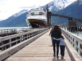A Disney cruise ship tied up at Skagway's ore dock. (Photo by Emily Files/KHNS)