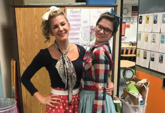 Shoshana Keegan, left, and Rosalind Worcester, both teachers in Bowman Elementary School's first- and second-grade optional program, dress up for a school spirit day. (Photo courtesy Rosalind Worcester)